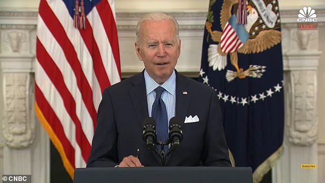 President Joe Biden fumbled over his words Tuesday when announcing the URL for the website set up for vaccine, calling it – twice – vaccine.gum.'We're going to make it easier than ever to get vaccinated. Visit vaccines.gum – .gov, vaccines.gum – or text to, text your zip code to 438829,' Biden said during a speech on the state of vaccines