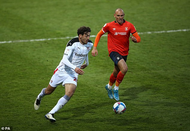 Rotherham's Matt Crooks and Luton Town's Kal Naismith (right) battle for the ball