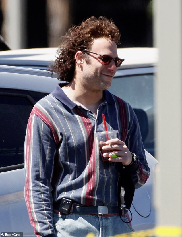 Light, camera, action!  Seth Rogen was back in character as the man who stole Pamela Anderson and Tommy Lee's sex tape in Los Angeles on Tuesday