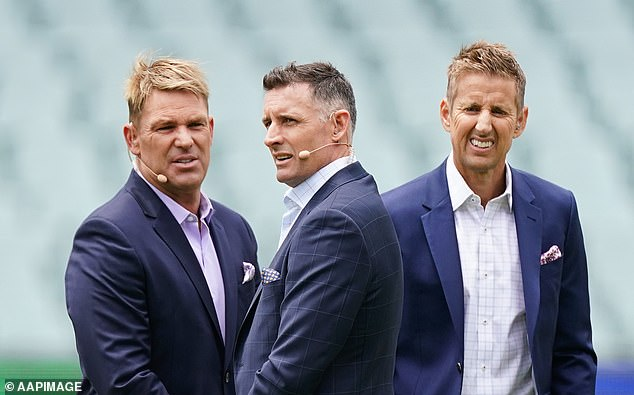 Hussey (middle with Shane Warne and Mark Howard), who's working as batting coach for the IPL's Chennai Super Kings, is now undergoing a second test