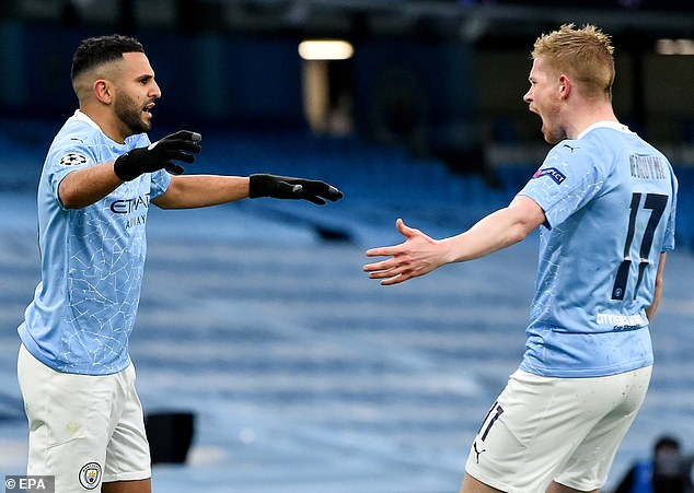 Riyad Mahrez (left) and Kevin de Bruyne (right) scored four goals between them in the two legs