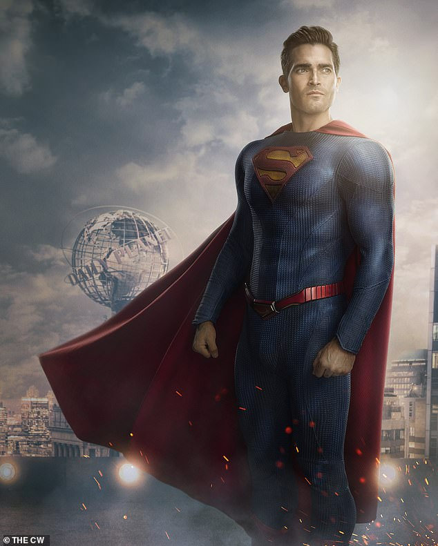 Spot the changes: Tyler's more classic superman suit is different from the other more modern costume he has been seen filming in, with a few striking detail differences including a different logo background color and changes to the belt