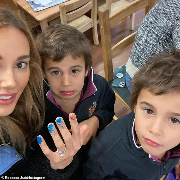 Quality time: On Tuesday, Bec shared a sweet video of herself getting a manicure courtesy of her twin sons