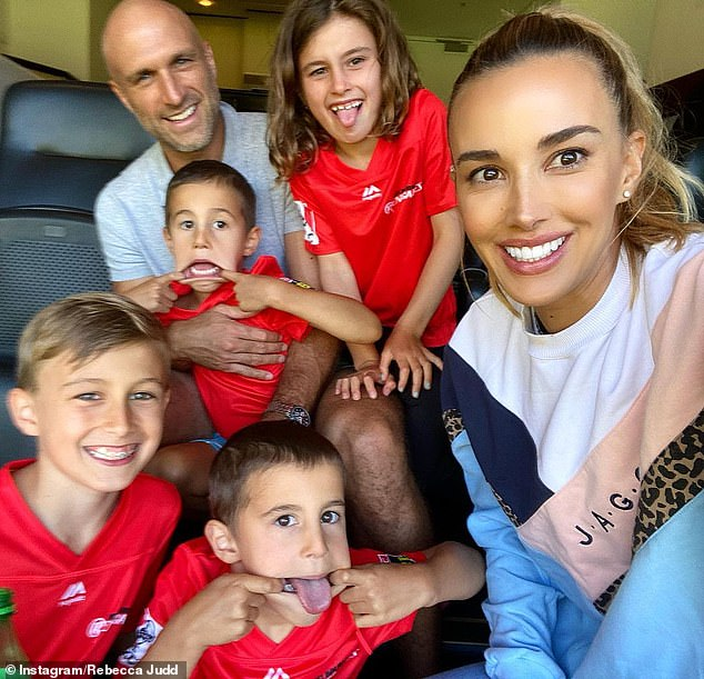Family: Bec shares four children, son Oscar, nine, daughter Billie, six, and four-year-old twins Tom and Darcy with husband Chris Judd