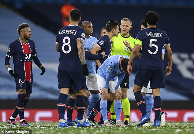 Leandro Paredes (second left) also alleged he was insulted in a similar manner by the official