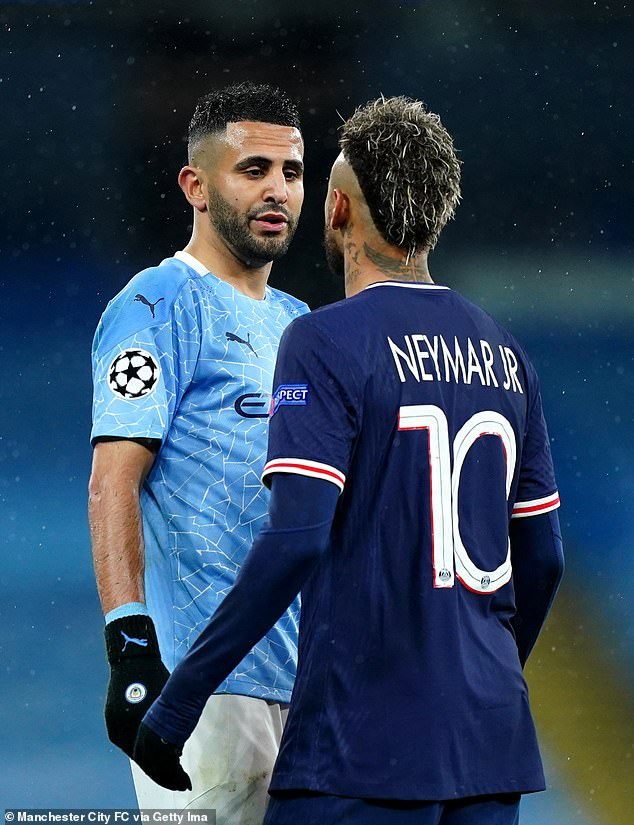 Man City winger Riyad Mahrez clashes with Neymar during Tuesday's bad-tempered clash