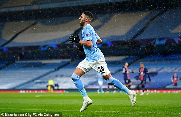 It was Riyad Mahrez (above) who provided the brace to see Manchester City beat PSG 2-0