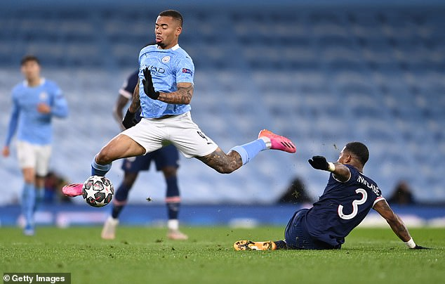 Presnel Kimpembe was fortunate to escape a red card for a reckless foul on Gabriel Jesus