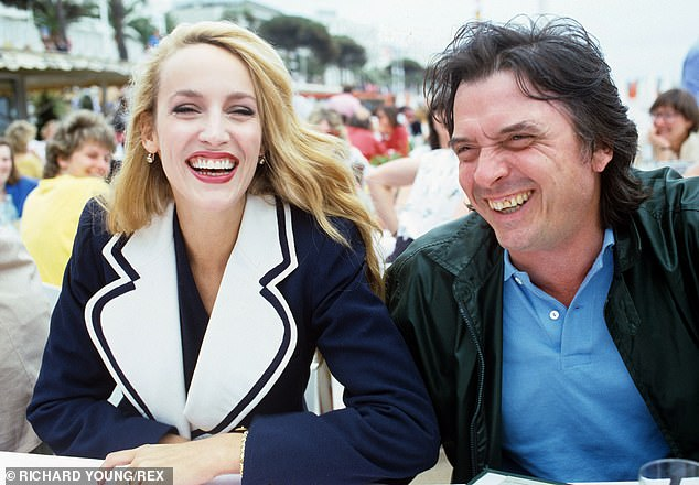 David Bailey and American model Jerry Hall at the 1983 Cannes Film Festival in France