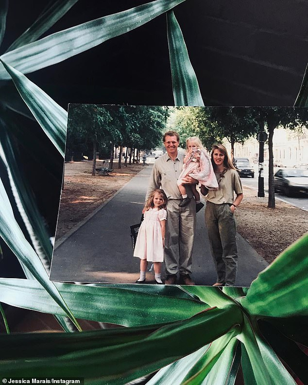 So sad: Jessica was just nine years old when she watched her father, university dean Tony Marais, collapse and die of a heart attack. Pictured with her family