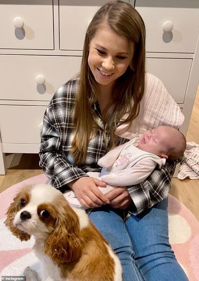 New addition: Bindi has just become a mother herself, welcoming her first child with husband Chandler Powell, 24, in March