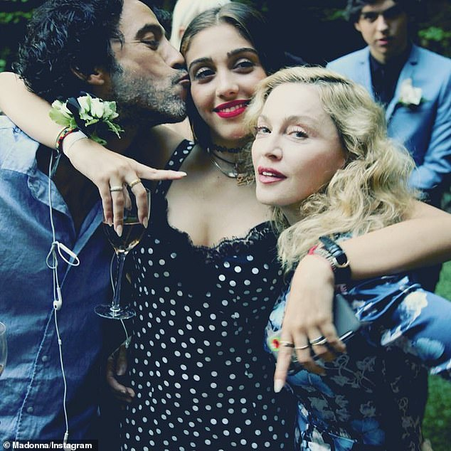 'Created with love': Lourdes is the eldest daughter of the Queen of Pop (R, pictured in 2016), 62, and the only daughter of her two-year relationship with Belleon Body co-creator Carlos Leon (left), which ended in 1997
