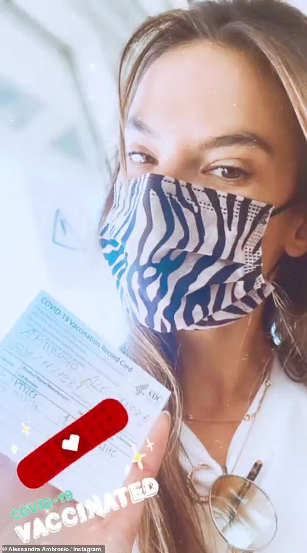 Vaccinated: Although she did not document her time spent with Ludi on Tuesday, Ambrosio proudly posted her completed vaccination record last week on her Instagram story.