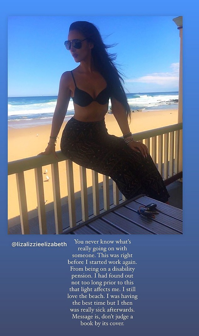 'I still love the beach': Lizzie revealed the photos of the beach were taken shortly after doctors told her she was extremely sensitive to sunlight
