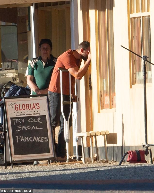 Method acting: The actor was filming a scene in which he approaches the outback diner on crutches looking inside the window before entering