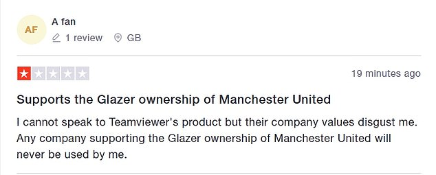 United fans have brought TeamViewer's rating crashing down to 1.1 stars with negative reviews