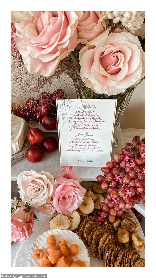 Scrumptious:Another image revealed a close-up of the menu of the day, highlighting several choices of cheese and sweets for the peckish.Luscious plums, dried fruit and gourmet crackers also featured in the display