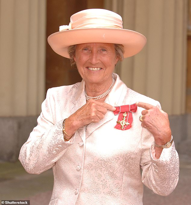 Heyhoe Flint (pictured receving an OBE in 2008) hit almost 1,600 runs at 45.54 in her 22 Tests, and averaged more than 58 in her 23 one-day internationals