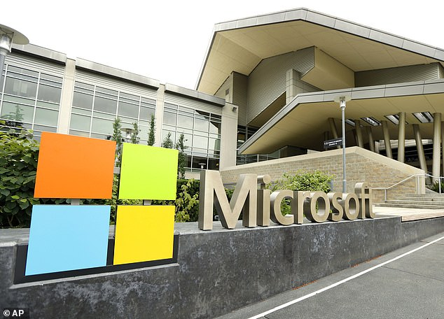 Microsoft began bringing workers back to its suburban Seattle world headquarters on March 29.  The above 2014 file image shows the Microsoft Visitor Center in Redmond, Washington