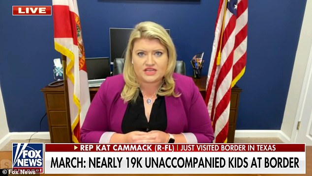 Cammack has expressed a hard line on the border crisis, previously calling Biden 'trafficker in chief' after visiting the border in Texas last month