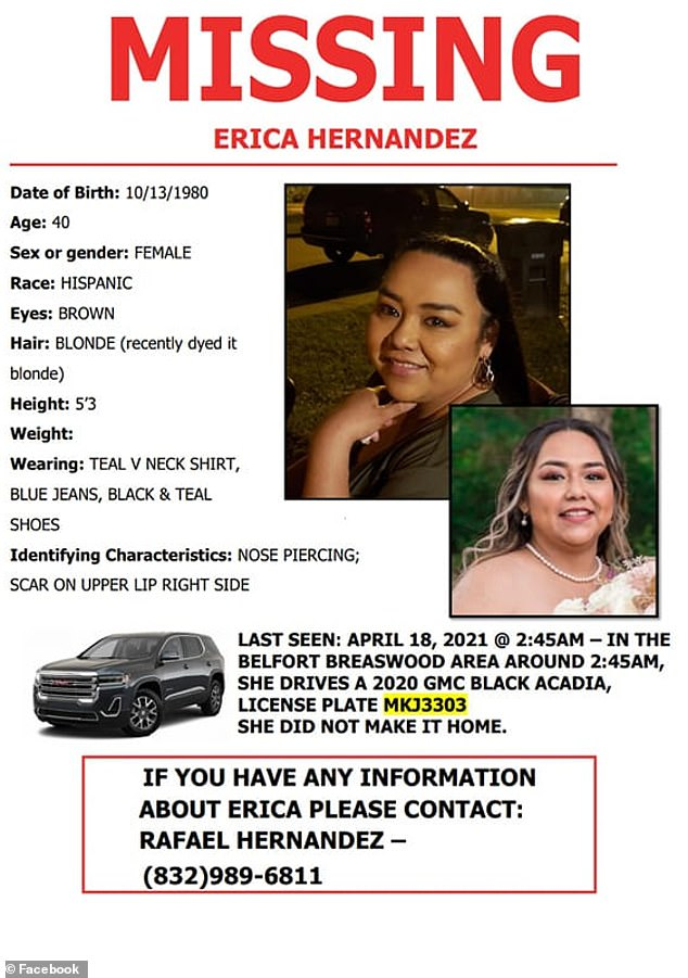 Pictured: A missing poster for Hernandez, who missed her son's birthday recently