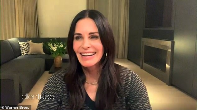 Good times: Courteney gushed about the upcoming Friends Reunion special she had previously filmed in an interview for the Ellen DeGeneres Show earlier this week