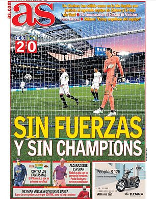 'Without strength and without the Champions League' came the headline on the front page of AS