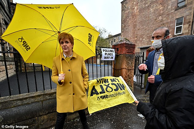 Nicola Sturgeon (pictured voting in Glasgow this morning) has made triggering a fresh referendum, potentially as early as this year, the centrepiece of her manifesto