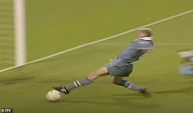 Gascoigne at full stretch was unable to connect with Shearer's bobbling volley across the box