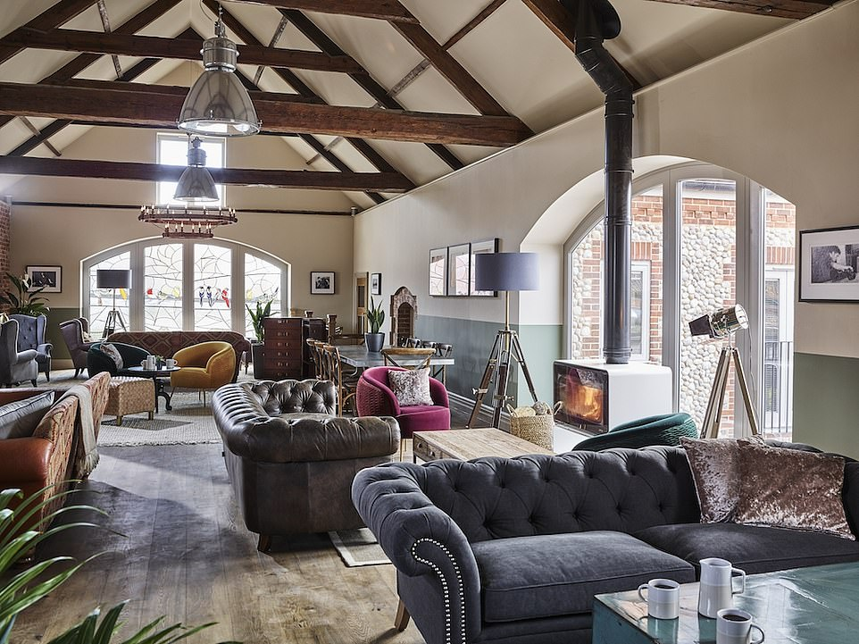 The newly opened luxury boutique and spa hotel The Harper (pictured), housed in the flint barn of a former glassworks at Langham, is a good base from which to explore