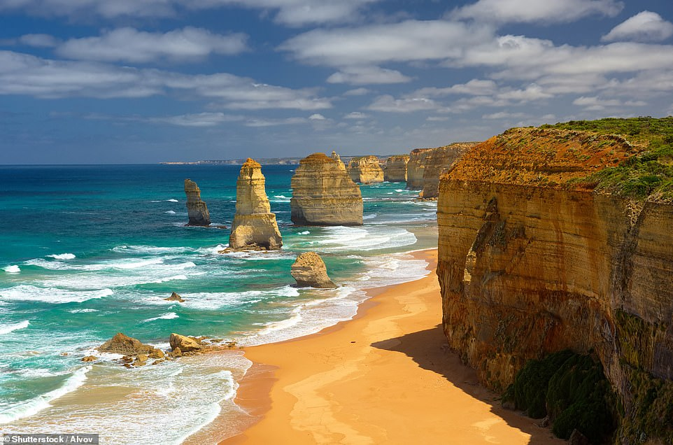 Rising out of the Southern Ocean, alongside Australia's famous Great Ocean Road, you'll find the 12 Apostles - limestone pillars that were once connected to the mainland cliffs. The waves and blasting winds gradually carved them into caves, then arches, and eventually eroded them to 150ft- (45m) tall columns. Currently, there are, in fact, only eight Apostles
