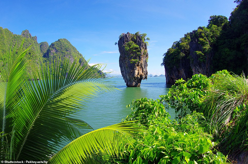Ko Tapu, off the coast of Thailand, is a top-heavy limestone sea stack about 66ft (20m) high. It became a popular attraction after staring in the 1974 James Bond movie The Man With The Golden Gun and it is now part of the protected Ao Phang Nga National Park