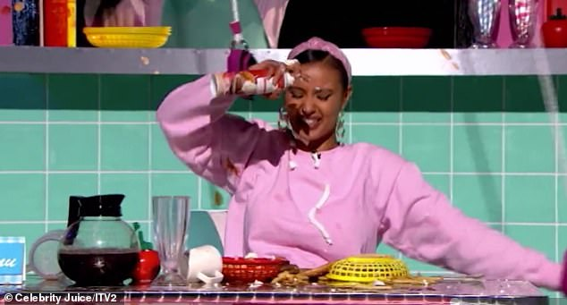 Oh dear! Last week, Maya was left in fits of giggles as she got squirty cream on her face and food everywhere as she took part in Celebrity Juice's hilarious diner challenge