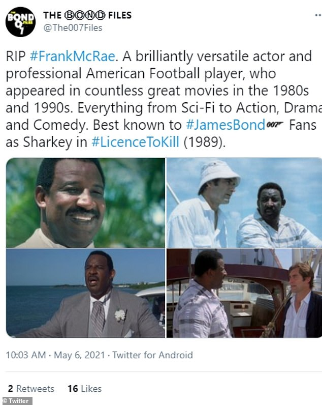 'Rest in peace, the irreplaceable Frank McRae': fans of the movie star shared their condolences on social media