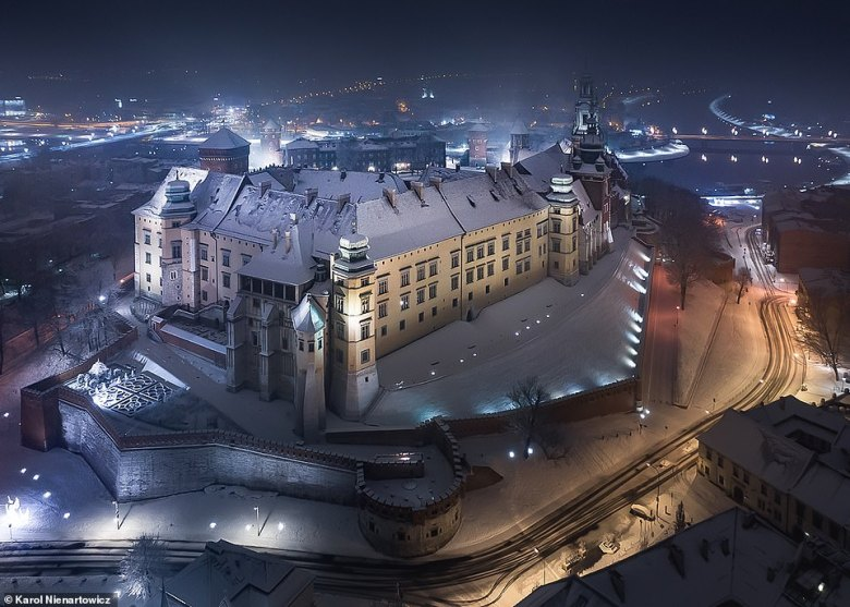 A mesmerising shot of Wawel Castle in Krakow, a former residence of the kings of Poland and now an art gallery. The building, which stands on a rocky outcrop called Wawel Hill, dates back to the 14th century and usually attracts one million visitors each year