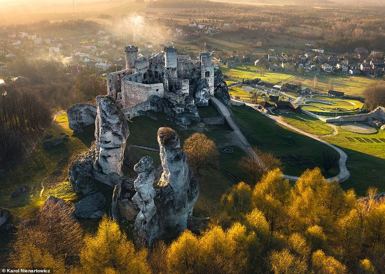 The imposing ruins of the 13th-century Ogrodzieniec Castle in Podzamcze, around an hour's drive fromKrakow. It sits on top of a 1,690ft (515m) mountain and is open to tourists.As the Polish Tourism Organisation points out, scenes for the 2019 Netflix series The Witcher, starring Henry Cavill, were shot at the castle