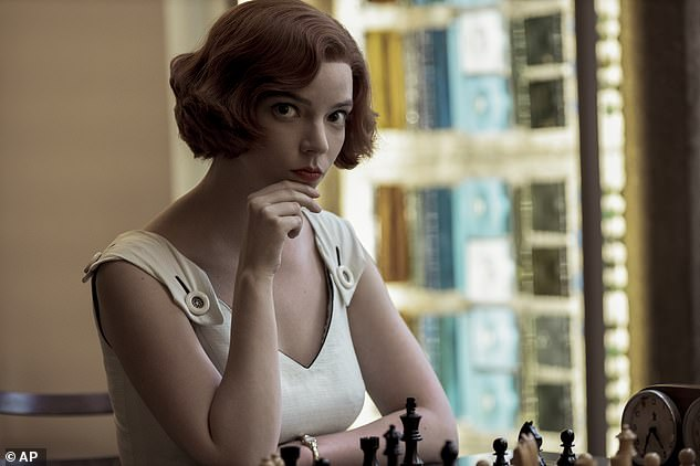 Big hit:Netflix's The Queen's Gambit was one of the biggest surprise hits of 2020, earning Golden Globes for Anya's performance and Best Television Limited Series, Anthology Series or Motion Picture Made for Television, among other awards (pictured in show still)