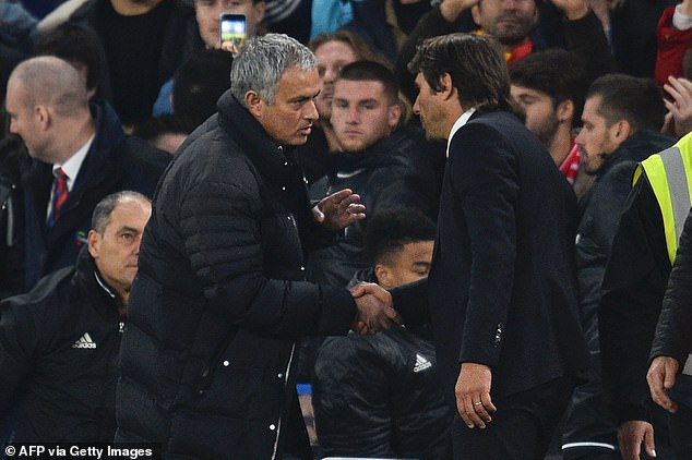 Mourinho (left) took issue with Conte's over-exuberant celebrations at Chelsea in late 2016