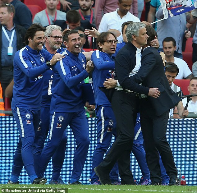 Conte (right) has wished Mourinho (second right) the best when he arrives at Roma this year