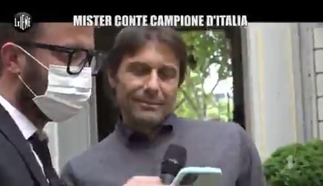 Conte reacted with surprise to the announcement of Mourinho's arrival at Roma on Tuesday