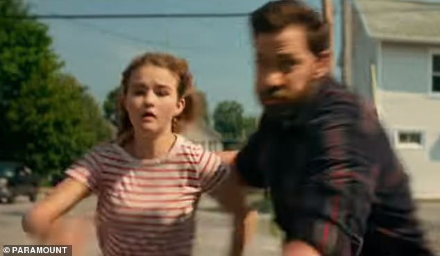 Family First: Lee runs through the streets to grab daughter Regan (played by Millicent Simmonds) to escape an attack