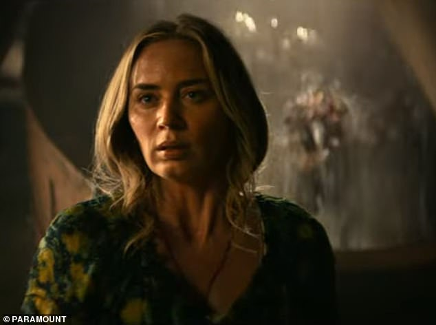 Scary: The rest of the trailer was filled with short clips of the crew trying to stay away from the monsters and ends with Evelyn breathing in what looks like an underground shelter when a figure appears in the water behind it.