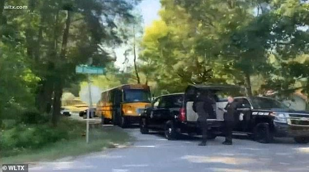 A trainee at Fort Jackson in South Carolina hijacked the bus (above) on Thursday morning