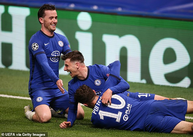 Similarly, Chelsea midfielder Mount (centre), 22, has been superb throughout this season