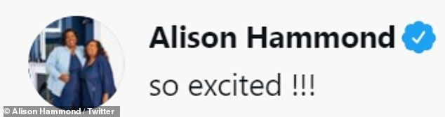 Proud:WH Smith announced on Thursday that the TV personality's autobiography was available to pre-order, prompting Alison to share her excitement on social media