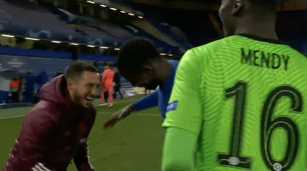 Immediately after the final whistle Hazard was seen laughing with ex team-mate Kurt Zouma