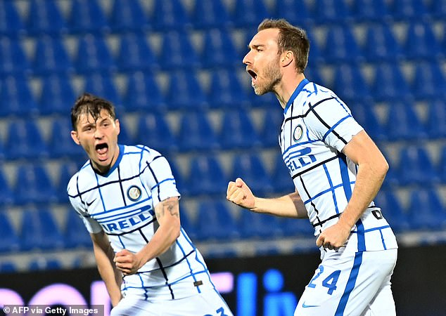 Eriksen scored Inter's opener as they won 2-0 at Crotone in Serie A on Saturday night