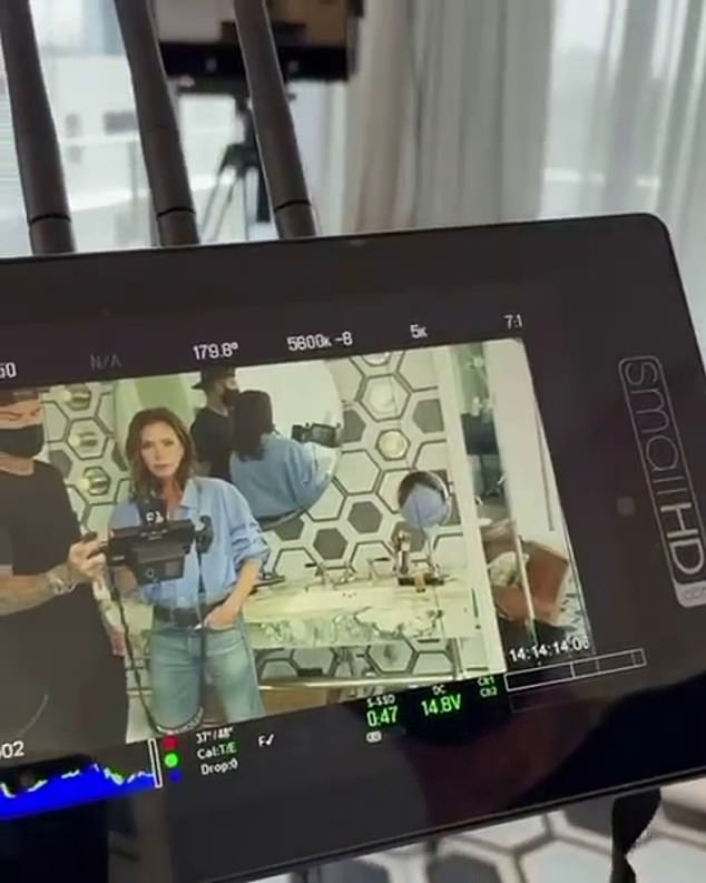 Shoot time! Also on Friday, her husband David Beckham , 46, proved he really can do it all as he turned director for Victoria and shot her eponymous beauty line in a throwback video