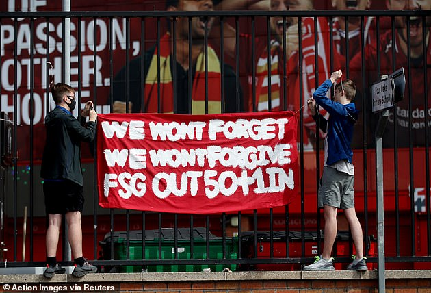 Liverpool fans also protested after the club's owners tried to join the European Super League