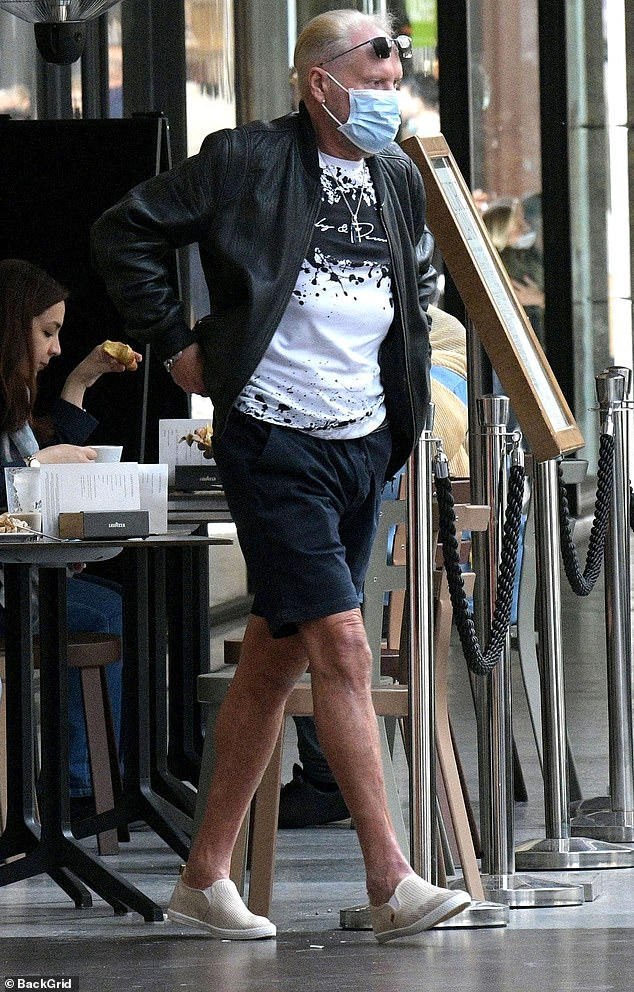 Healing: And he appeared to be on the mend on Friday as he arrived at the outdoor restaurant without an arm splint